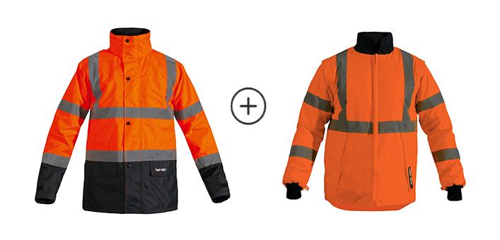 Parka de securité sky + veste de sécurité rocket orange