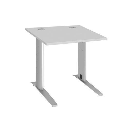 bureau droit 80 cm gris metal