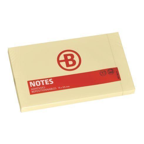 NOTES REPOSITIONNABLES JAUNES BRUNEAU 75 X 125 MM - BLOC DE 100 FEUILLES