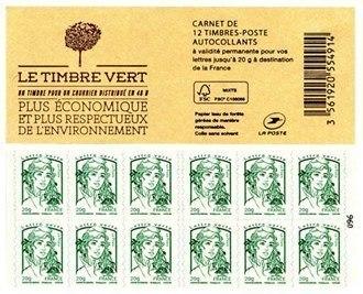 CARNET DE 12 TIMBRES-POSTE POUR LETTRE VERTE 20 G