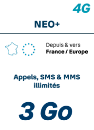 Forfait <b>SANS</b> téléphone <br><b> NEO 24/7 Appels et SMS - Prime exceptionnelle jusqu à 120€