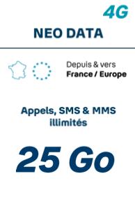 Forfait <b>SANS</b> téléphone<br> <b>NEO DATA 25 Go</b> - Prime exceptionnelle jusqu à 120€