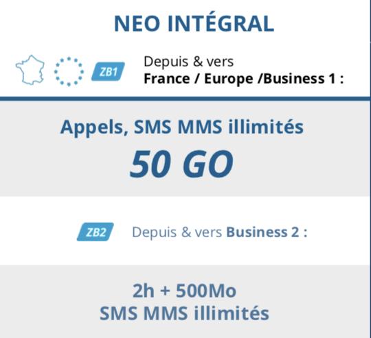 Forfait <b>AVEC</b> téléphone <br><b>NEO INTEGRAL 50 Go</b>