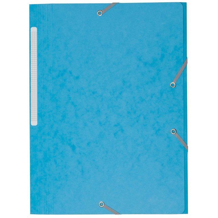 Chemise À Élastique 3 Rabats Carte Bruneau 24 X 32 Cm Dos 3,5 Cm Bleu Azur