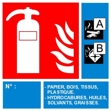 PANNEAU PVC EXTINCTEUR CLASSE DE FEU (AB) 100*150