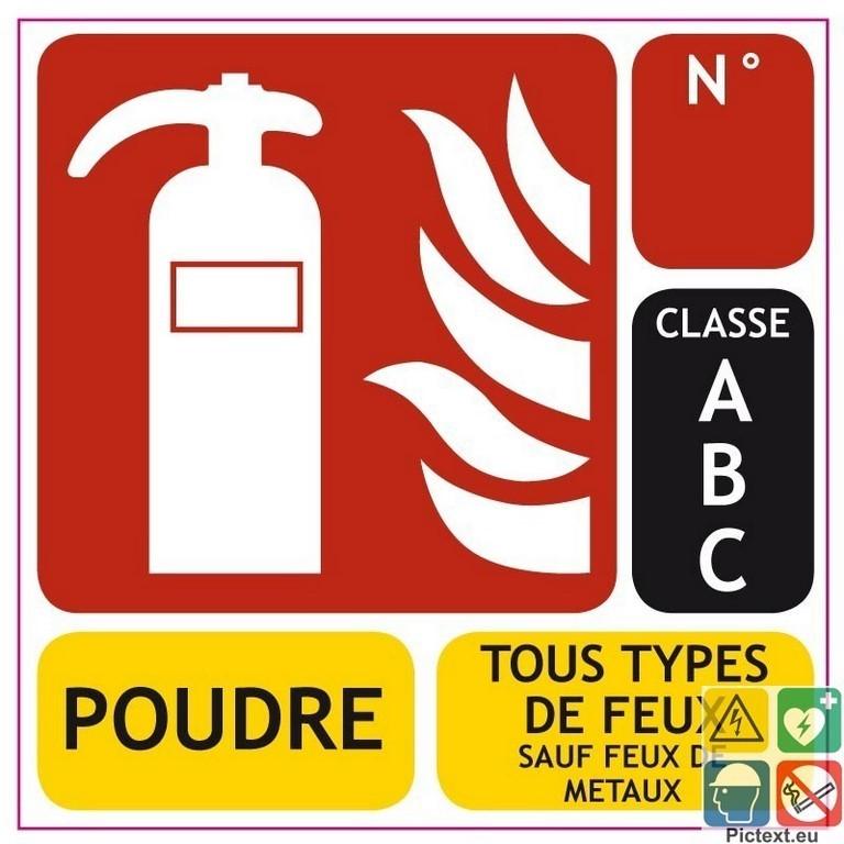 PANNEAU PVC EXTINCTEUR CLASSE DE FEU (ABC) 100*150