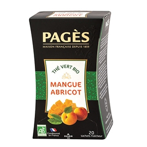 Thé vert mangue - abricot Prestige bio Pagès 20 sachets
