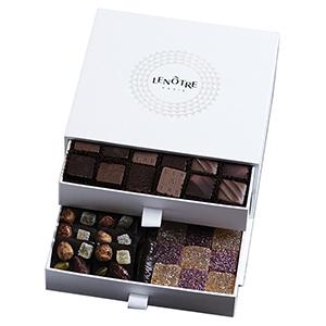Coffret Harmonie 2 tiroirs de 30 chocolats assortis et 30 carrés mendiants