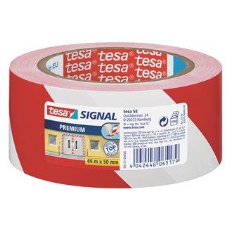 Ruban adhésif de marquage Tesa PVC 50 mm x 66 m - Rouge et blanc