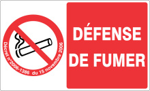 DEFENSE DE FUMER support rectangulaire