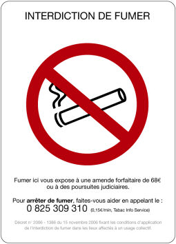 Support adhésif INTERDICTION DE FUMER