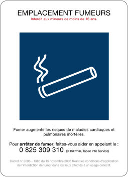 Support adhésif EMPLACEMENT FUMEURS