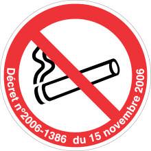 DEFENSE DE FUMER support adhésif