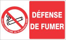 DEFENSE DE FUMER support rectangulaire adhésif