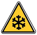Panneau rigide DANGER BASSES TEMPERATURES Support PS Choc blanc 100x100x100