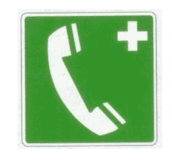 TELEPHONE DE SECOURS support adhésif - 200 X 200 mm