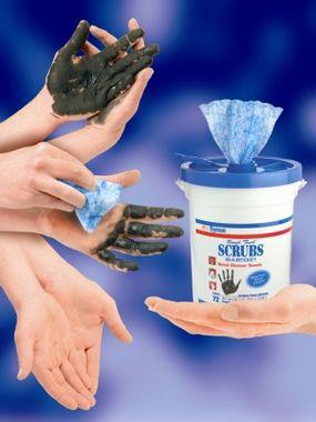 Seau de 72 Lingettes SCRUBS 27 x 31 cm pour le nettoyage difficile des mains