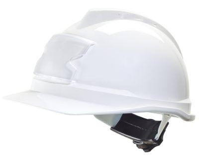 Casque V-Gard 500 non ventilé, coiffe Fas-Trac III (réglage à molette) et porte-badge