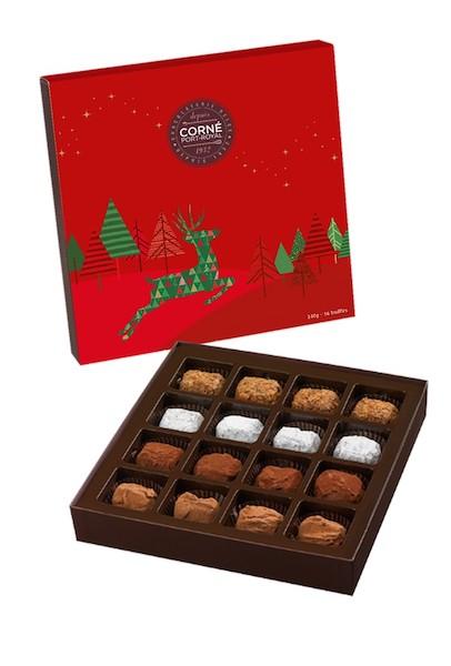 Boîte carrée assortiment <br> 16 truffes Couvercle Noël