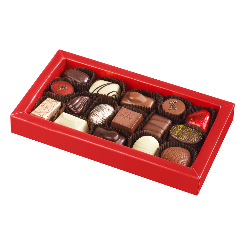 Boîte rectangulaire garnie <br> 16 chocolats Couvercle Noël