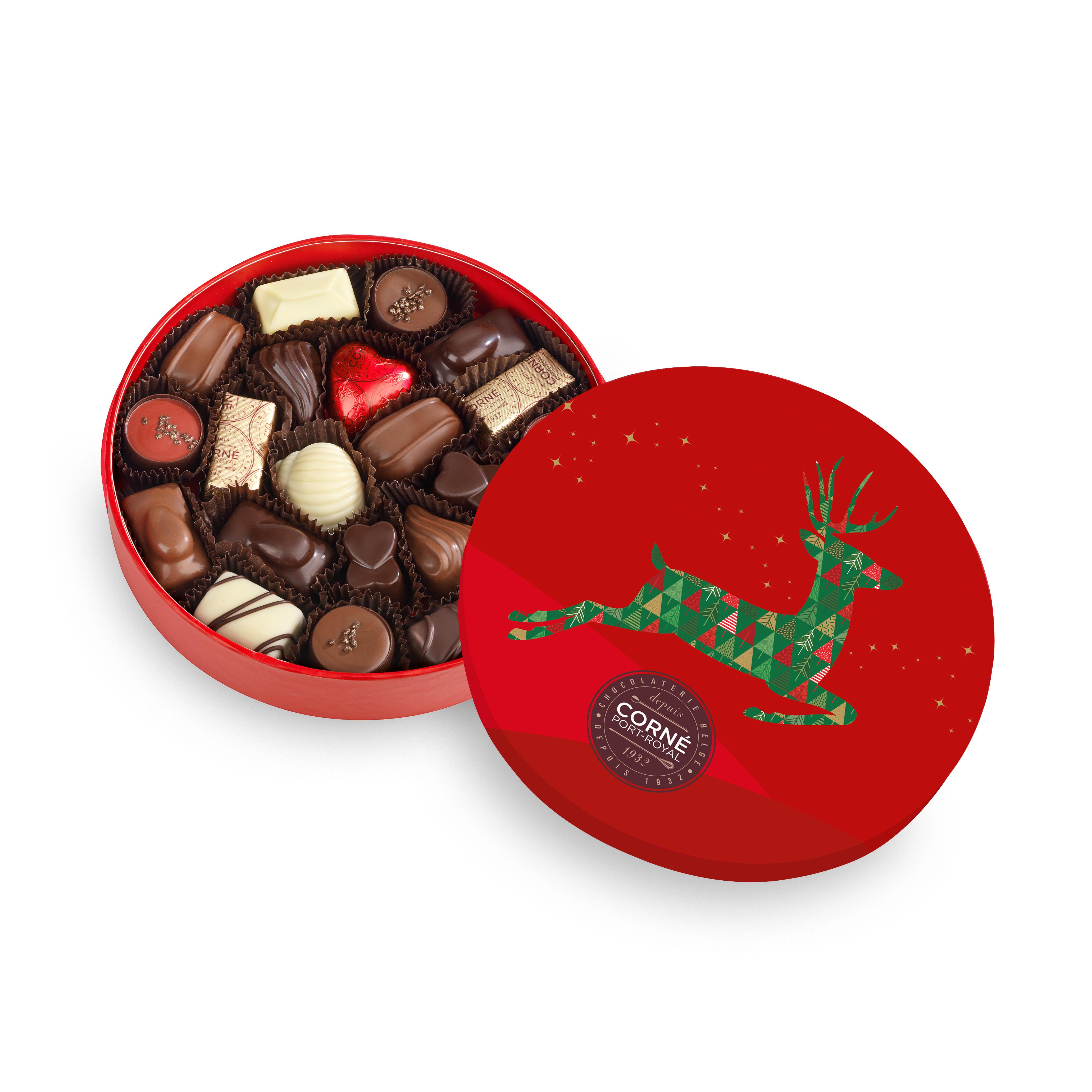 Boîte ronde garnie<br> 21 chocolats