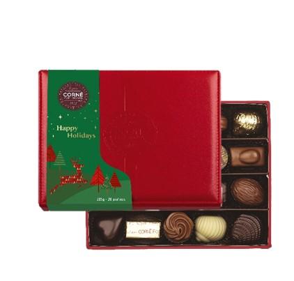 Boîte cuir rouge avec fourreau - 20 chocolats assortis sans alcool