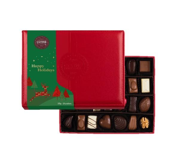 Boîte cuir rouge avec fourreau - 28 chocolats assortis sans alcool