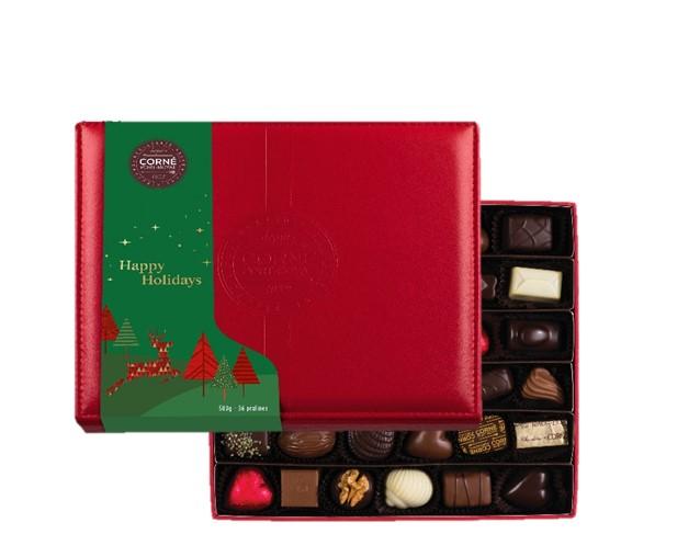Boîte cuir rouge avec fourreau - 36 chocolats assortis sans alcool