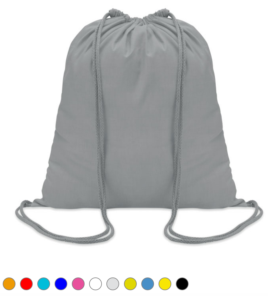 Sac à cordon en coton coloré/naturel (100 gr/m²)