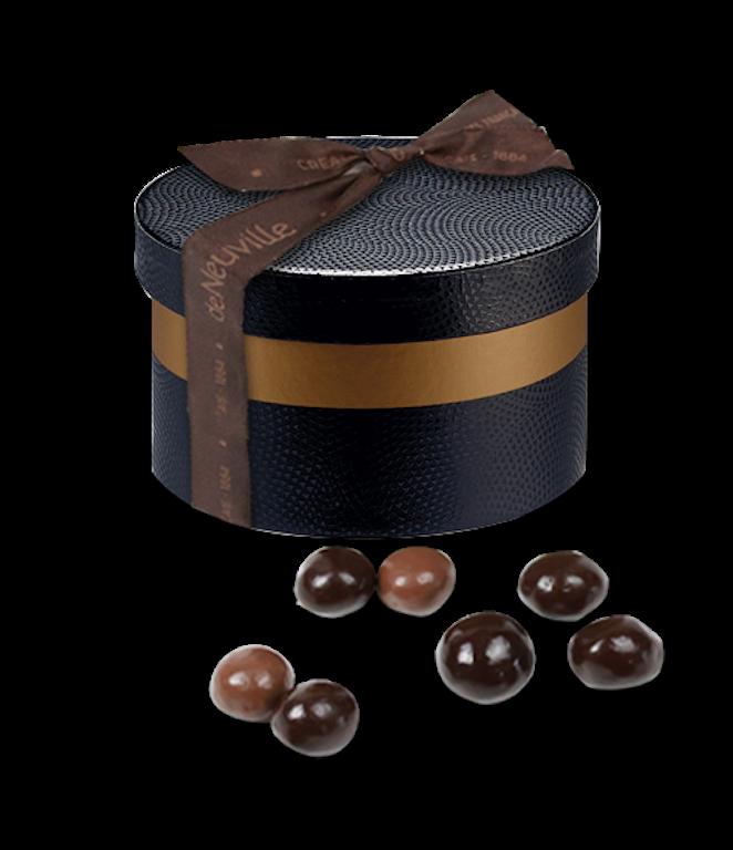 Mini Boite à chapeau noisettes enrobées de chocolat au lait - chocolat noir