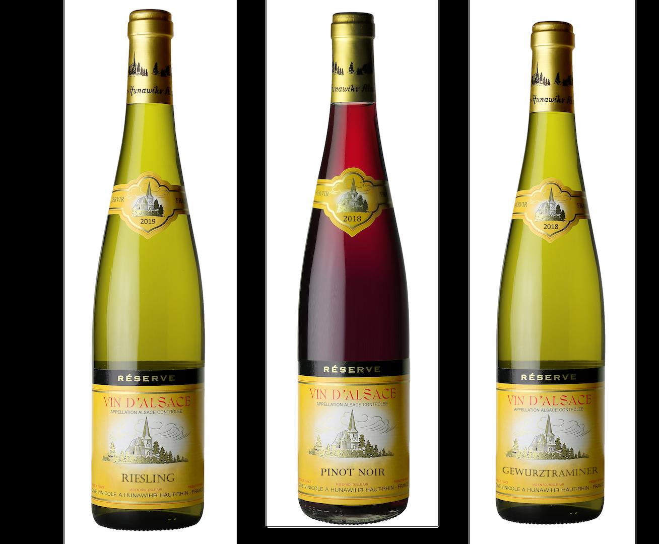 Coffret 3 bouteilles rouges et blanc <br><b>Région d'Alsace : mis en bouteille à la Propriété</b>