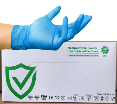 Boîte de Gants CoShield nitrile bleu, protection chimique, micro-organismes et virus