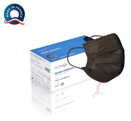 Masque Noir chirurgical type II - Fabrication française - Boîte de 50