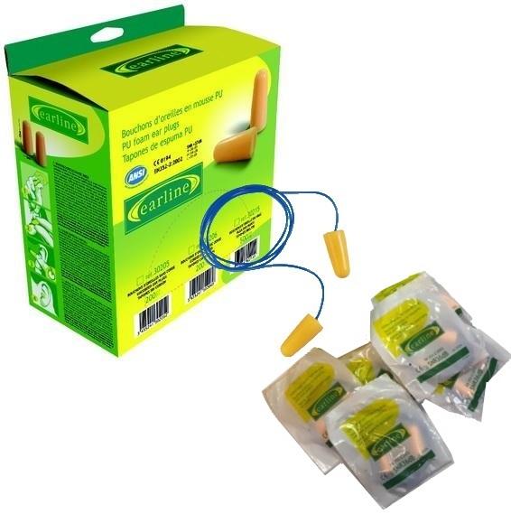 Bouchons d'oreille cordés EARLINE SNR 36dB - boîte de 150 paires