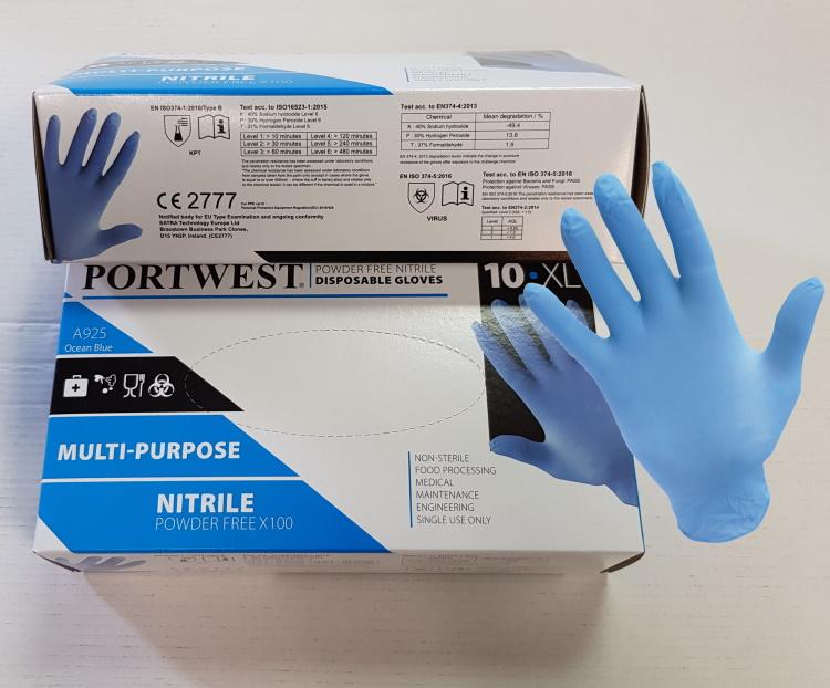 Boite de 100 gants A925 Nitrile Non poudrés - bleu